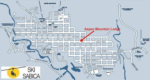 Aspen Mountain Lodge. Plano de situación en Aspen Mountain.